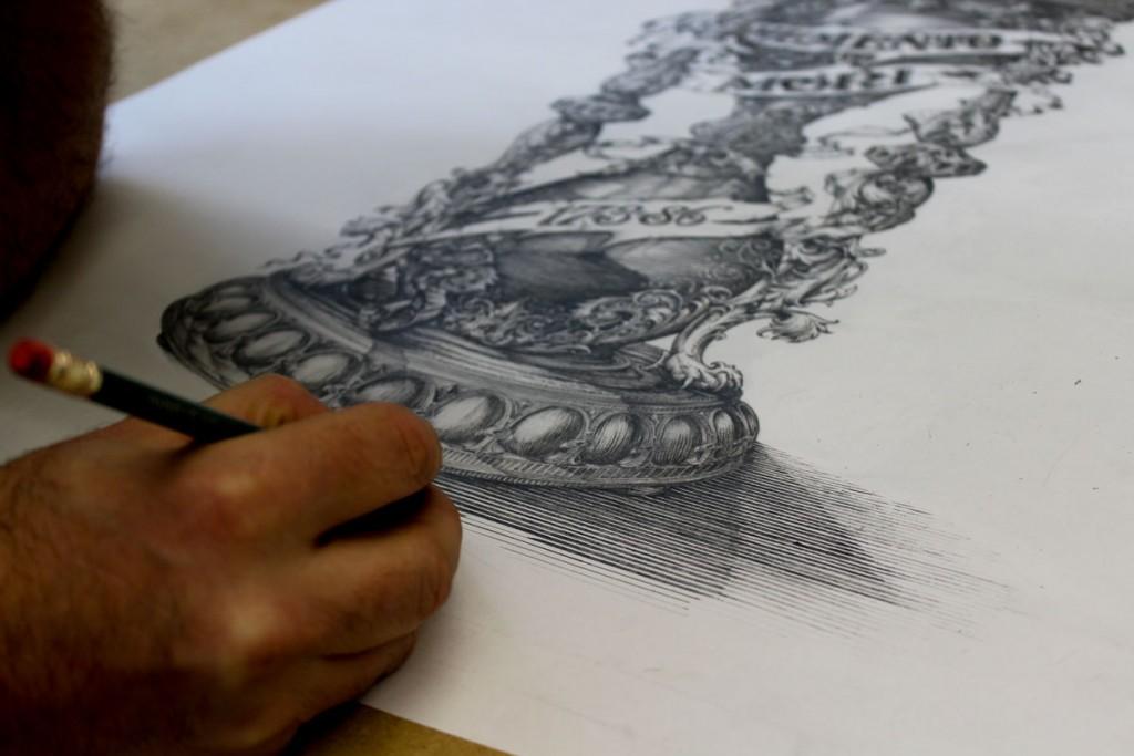 Rascunho de ampulheta para tatuagem feito para o brasileiro Paulinho Moreira. (davidadriansmith.com)