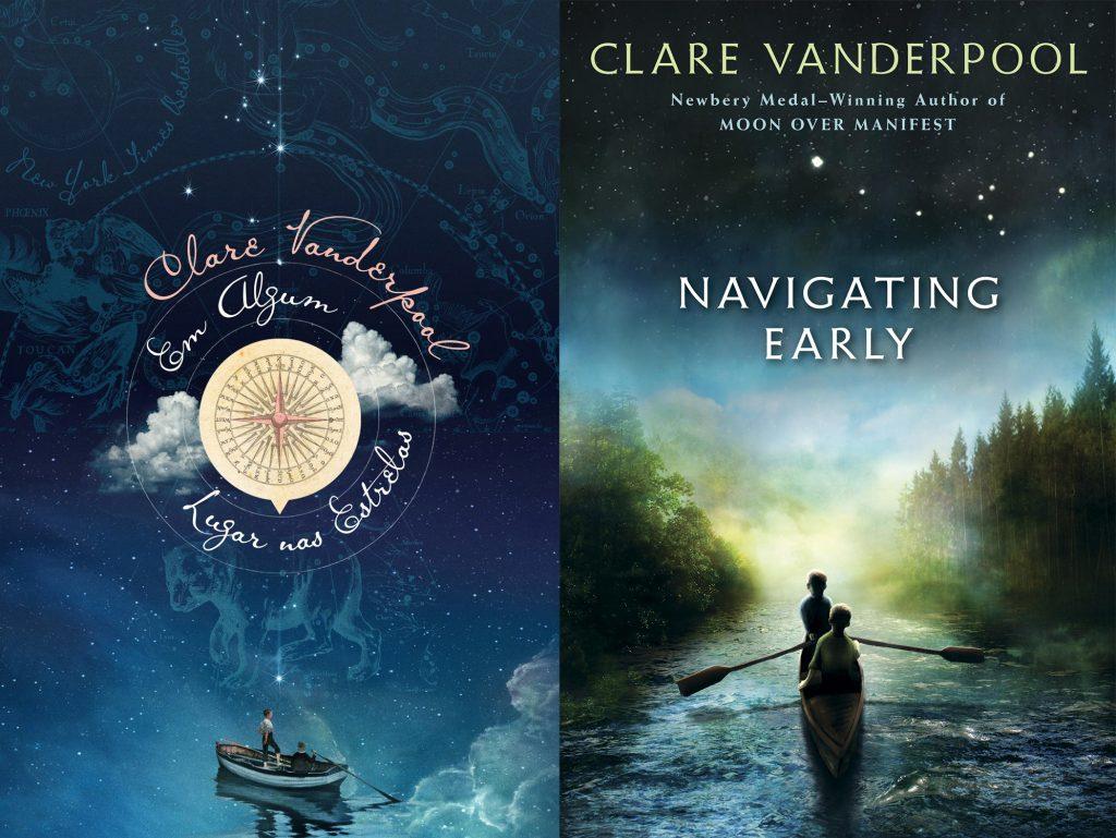 Em algum lugar nas estrelas (DarkSide Books/Divulgação) e a versão original, Navigating Early, de Clare Vanderpool